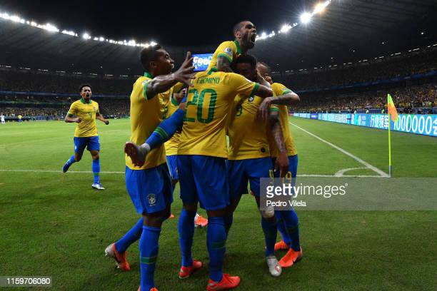 Gabriel Jesus of Brazil celebrates after scoring the opening goal with teammates during the Copa America Brazil 2019 Semi Final match between Brazil...