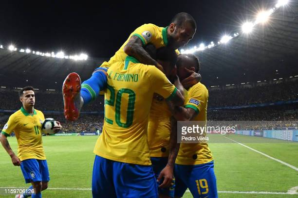 Gabriel Jesus of Brazil celebrates after scoring the opening goal during the Copa America Brazil 2019 Semi Final match between Brazil and Argentina...