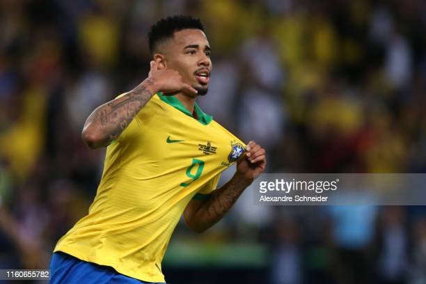 Gabriel Jesus of Brazil celebrates after scoring the second goal of his team during the Copa America Brazil 2019 Final match between Brazil and Peru...