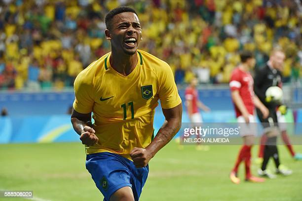 Gabriel Jesus of Brazil celebrates his goal against Denmark during the Rio 2016 Olympic Games mens first round Group A football match Brazil vs...