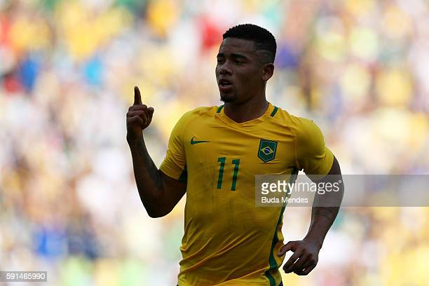 Gabriel Jesus of Brazil celebrates scoring during the Men's Semifinal Football match between Brazil and Honduras at Maracana Stadium on Day 12 of the...