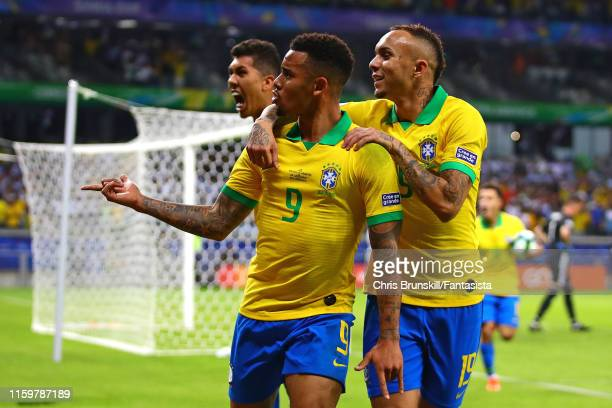 Gabriel Jesus of Brazil celebrates scoring the opening goal during the Copa America Brazil 2019 Semi Final match between Brazil and Argentina at...