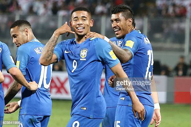 Gabriel Jesus of Brazil celebrates with teammates after scoring his team's first goal during a match between Peru and Brazil as part of FIFA 2018...