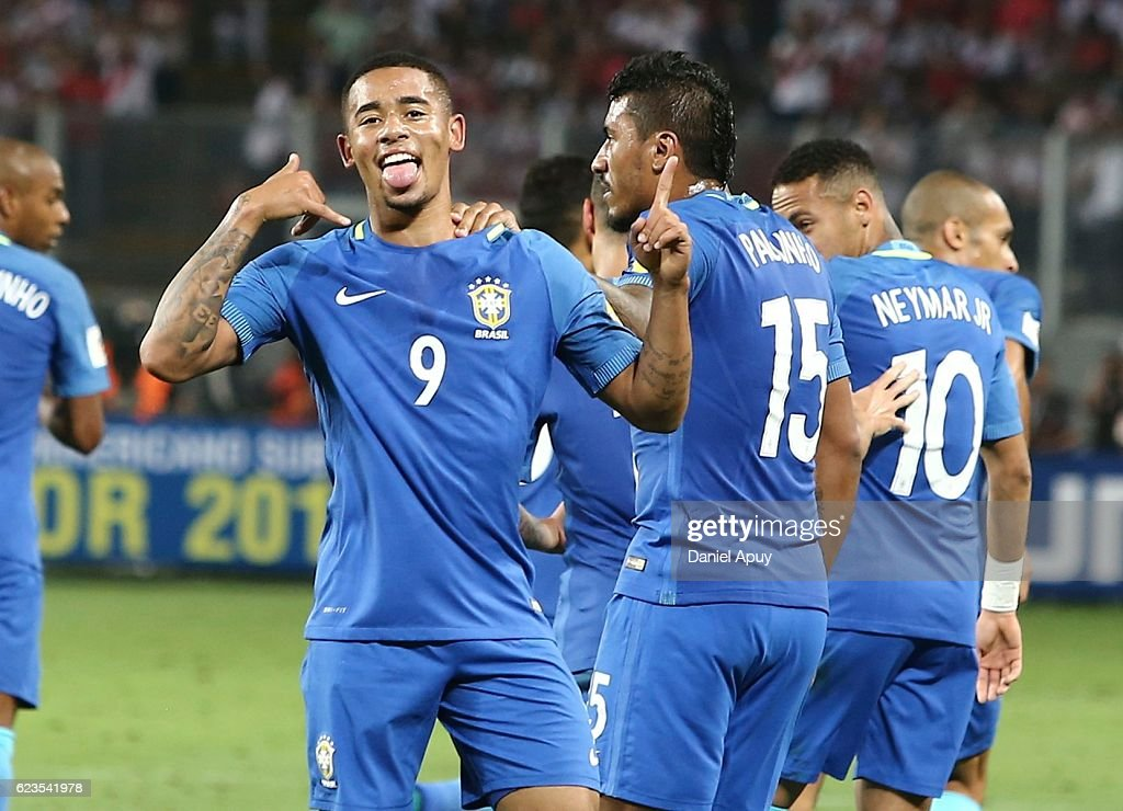 Gabriel Jesus of Brazil celebrates with teammates after scoring his team's first goal during a match between Peru and Brazil as part of FIFA 2018 World Cup Qualifiers at Nacional Stadium on November 15, 2016 in Lima, Peru.