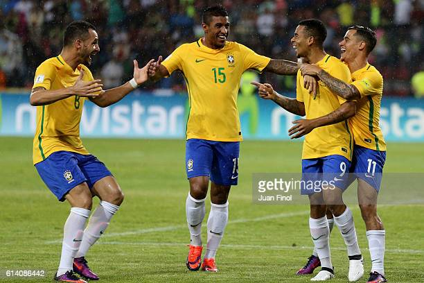 Gabriel Jesus of Brazil celebrates with teammates after scoring the opening goal during a match between Venezuela and Brazil as part of FIFA 2018...