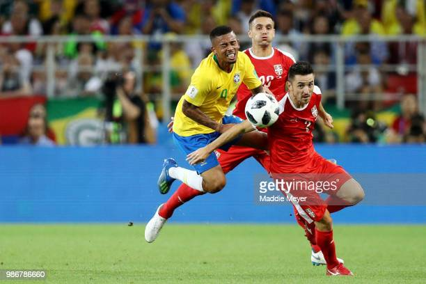 Gabriel Jesus of Brazil collides with Antonio Rukavina of Serbia during the 2018 FIFA World Cup Russia group E match between Serbia and Brazil at...