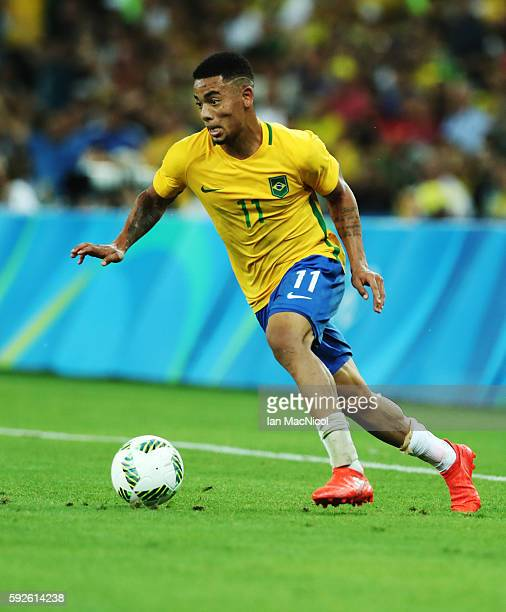 Gabriel Jesus of Brazil controls the ball during Brazil versus Germany in the Men's football final match at Maracana Stadium on August 20 2016 in Rio...