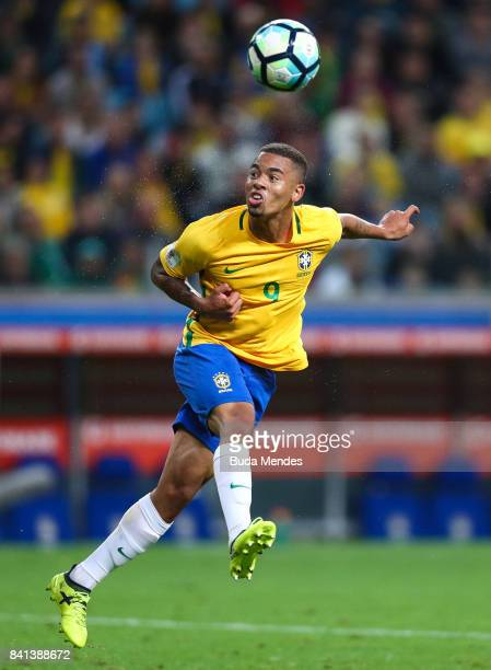 Gabriel Jesus of Brazil controls the ball with of Ecuador during a match between Brazil and Ecuador as part of 2018 FIFA World Cup Russia Qualifier...