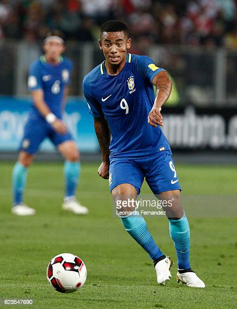 Gabriel Jesus of Brazil drives the ball during a match between Peru and Brazil as part of FIFA 2018 World Cup Qualifiers at Nacional Stadium on...
