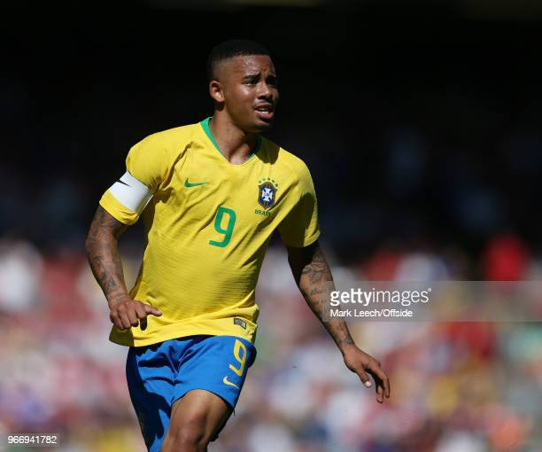 Gabriel Jesus of Brazil during the friendly international football match between Brazil and Croatia at Anfield on June 3 2018 in Liverpool England