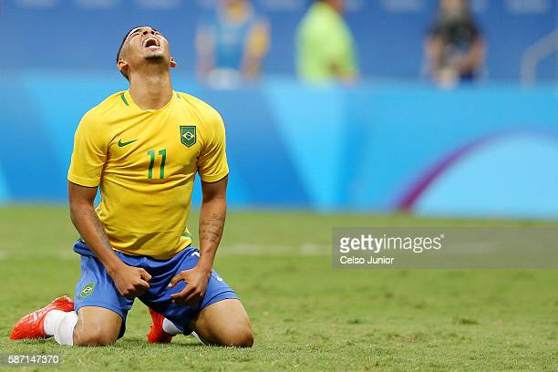 Gabriel Jesus of Brazil during the men's soccer match between Brazil and Iraq at Mane Garrincha Stadium during the Rio 2016 Olympic Games on August 7...