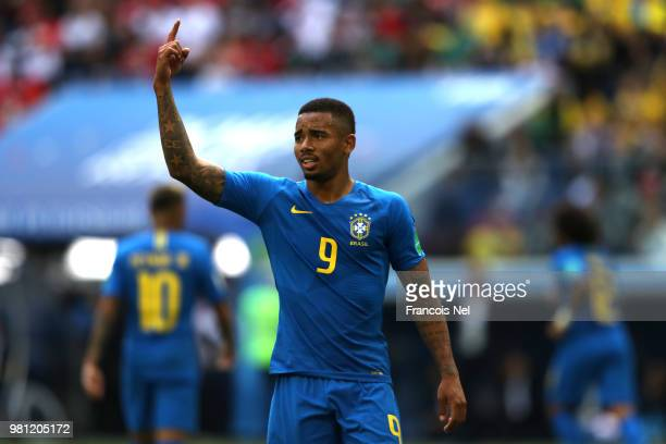 Gabriel Jesus of Brazil gestures during the 2018 FIFA World Cup Russia group E match between Brazil and Costa Rica at Saint Petersburg Stadium on...