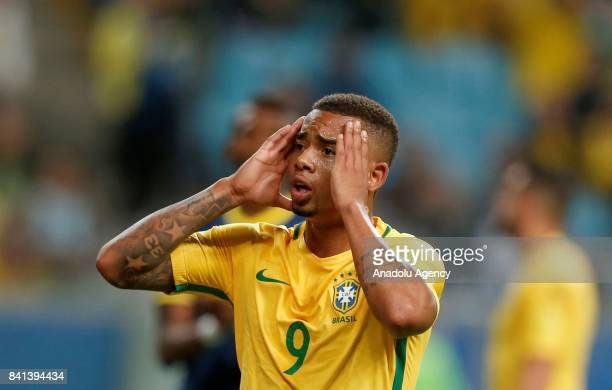 Gabriel Jesus of Brazil gestures during the 2018 FIFA World Cup Russia qualifying match between Brazil and Ecuador at Arena do Gremio in Porto Alegre...