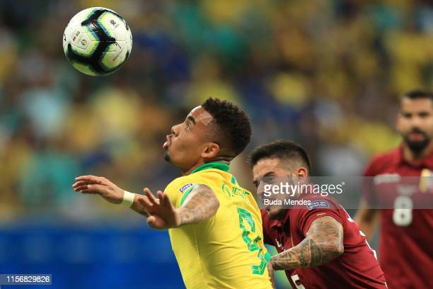 Gabriel Jesus of Brazil heads the ball against Junior Moreno of Venezuela during the Copa America Brazil 2019 group A match between Brazil and...