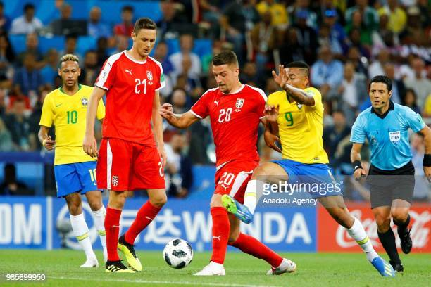 Gabriel Jesus of Brazil in action against Sergej MilinkovicSavic of Serbia during the 2018 FIFA World Cup Russia Group E match between Serbia and...