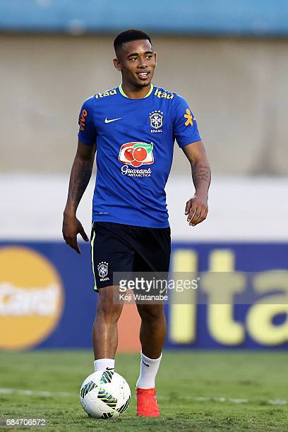 Gabriel Jesus of Brazil in action during a training session ahead of the international friendly match between Japan and Brazil on July 29 2016 in...