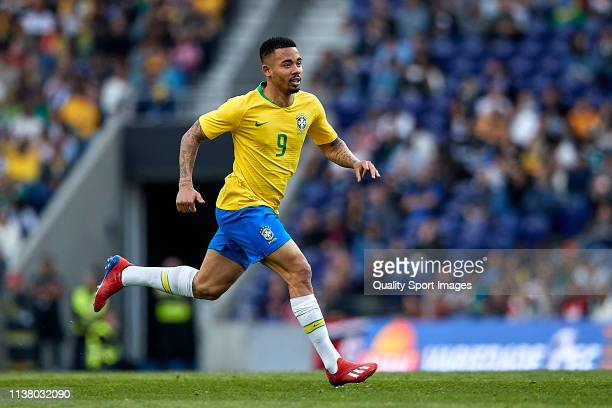 Gabriel Jesus of Brazil in action during the International Friendly match between Brazil and Panama at Estadio do Dragao on March 23 2019 in Porto...