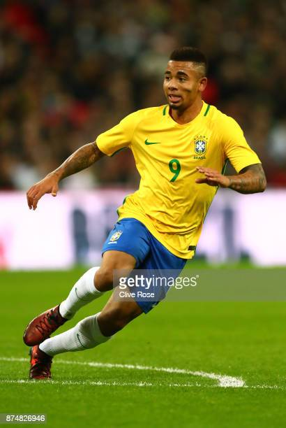 Gabriel Jesus of Brazil in action during the International Friendly match between England and Brazil at Wembley Stadium on November 14 2017 in London...