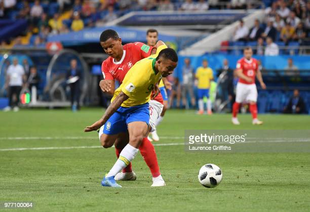 Gabriel Jesus of Brazil is bought down in the penalty area by Manuel Akanji of Switzerland but no penalty is awarded during the 2018 FIFA World Cup...