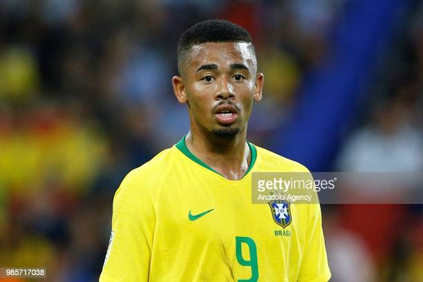 Gabriel Jesus of Brazil is seen during the 2018 FIFA World Cup Russia Group E match between Serbia and Brazil at the Spartak Stadium in Moscow,...