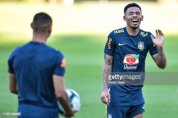 Gabriel Jesus of Brazil laughs during a training session at Cidade do Galo on July 1, 2019 in Vespasiano, Brazil.