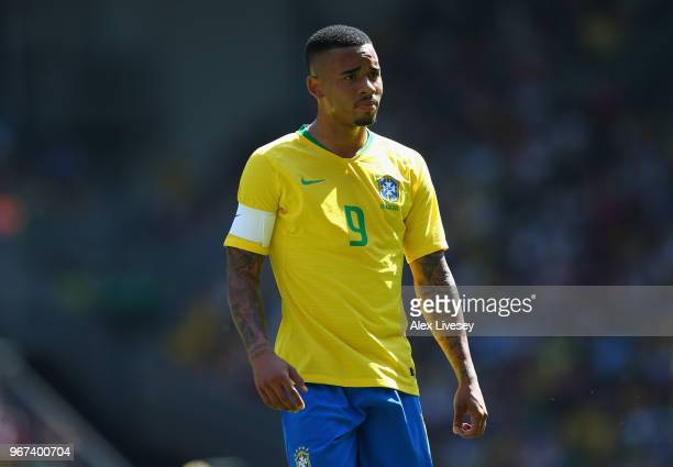 Gabriel Jesus of Brazil looks on during the International friendly match between of Croatia and Brazil at Anfield on June 3 2018 in Liverpool England