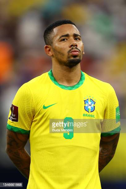 Gabriel Jesus of Brazil looks on prior to a match between Brazil and Uruguay as part of South American Qualifiers for Qatar 2022 at Arena Amazonia on...