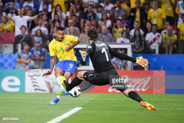 Gabriel Jesus of Brazil misses his chance during the FIFA World Cup Group E match between Serbia and Brazil on June 27 2018 in Moscow Russia