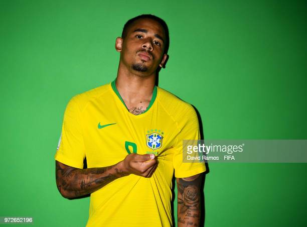 Gabriel Jesus of Brazil poses during the official FIFA World Cup 2018 portrait session at the Brazil Team Camp on June 12 2018 in Sochi Russia