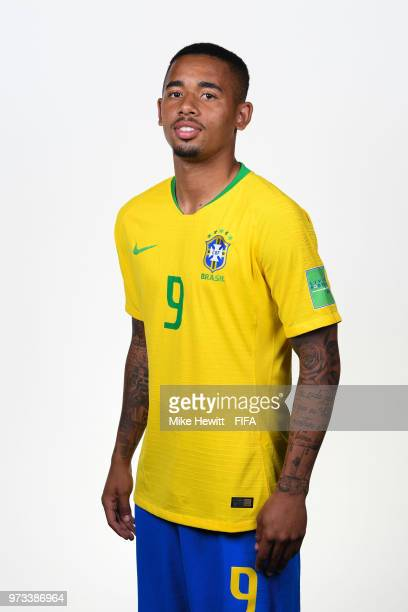 Gabriel Jesus of Brazil poses for a portrait during the official FIFA World Cup 2018 portrait session at the Brazil Team Camp on June 12 2018 in...