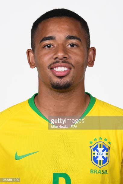 Gabriel Jesus of Brazil poses for photographs during the official FIFA World Cup 2018 portrait session at the Brazil Team Camp on June 12 2018 in...