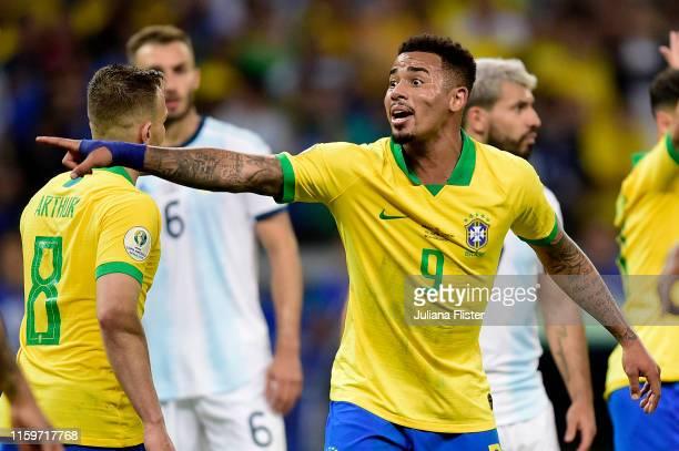 Gabriel Jesus of Brazil reacts after winning the Copa America Brazil 2019 Semi Final match between Brazil and Argentina at Mineirao Stadium on July...