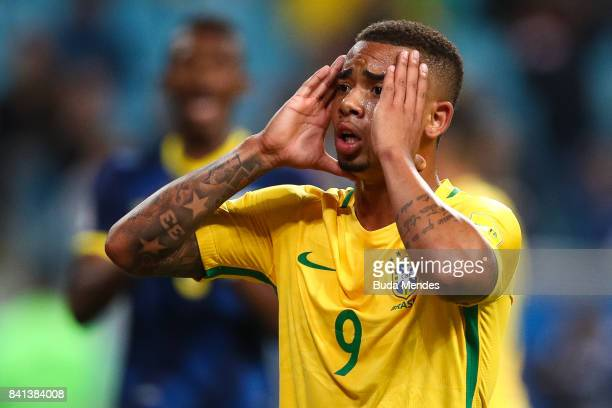 Gabriel Jesus of Brazil reacts during a match between Brazil and Ecuador as part of 2018 FIFA World Cup Russia Qualifier at Arena do Gremio on August...