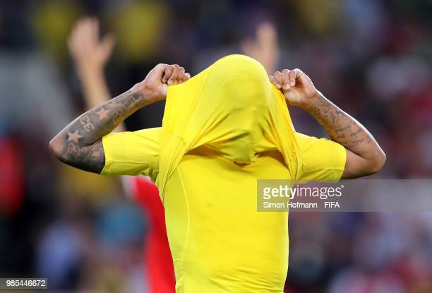 Gabriel Jesus of Brazil reacts during the 2018 FIFA World Cup Russia group E match between Serbia and Brazil at Spartak Stadium on June 27, 2018 in...