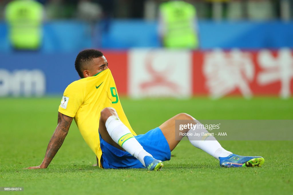 Gabriel Jesus of Brazil reacts during the 2018 FIFA World Cup Russia group E match between Serbia and Brazil at Spartak Stadium on June 27, 2018 in Moscow, Russia.
