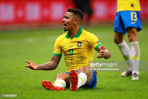 Gabriel Jesus of Brazil reacts during the Copa America Brazil 2019 group A match between Brazil and Venezuela at Arena Fonte Nova on June 18 2019 in...