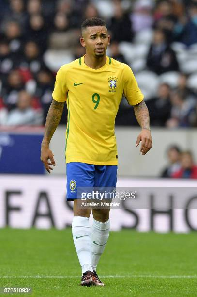 Gabriel Jesus of Brazil reacts during the international friendly match between Brazil and Japan at Stade PierreMauroy on November 10 2017 in Lille...