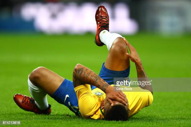 Gabriel Jesus of Brazil reacts during the international friendly match between England and Brazil at Wembley Stadium on November 14 2017 in London...