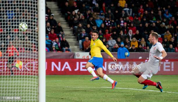 Gabriel Jesus of Brazil scores his team's second goal past Vladimir Coufal of the Czech Republic during the international friendly match between the...