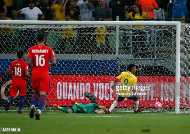 Gabriel Jesus of Brazil scores their second goal during the match between Brazil and Chile for the 2018 FIFA World Cup Russia Qualifier at Allianz...