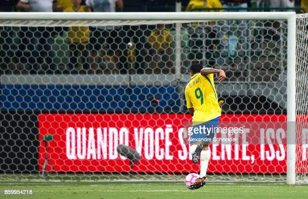 Gabriel Jesus of Brazil scores their thirth goal during the match between Brazil and Chile for the 2018 FIFA World Cup Russia Qualifier at Allianz...