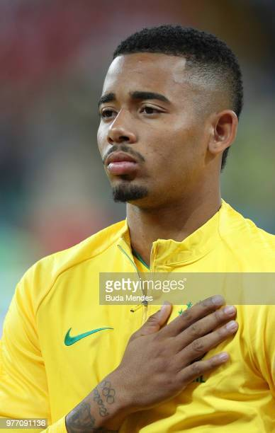Gabriel Jesus of Brazil sings the national anthem prior to the 2018 FIFA World Cup Russia group E match between Brazil and Switzerland at Rostov...