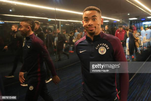 Gabriel Jesus of Machester City walks in after warming up prior to the Premier League match between Manchester City and AFC Bournemouth at Etihad...