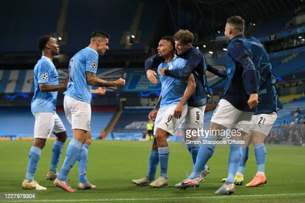 Gabriel Jesus of Man City celebrates after scoring their 2nd goal during the UEFA Champions League round of 16 second leg match between Manchester...