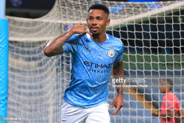 Gabriel Jesus of Man City celebrates scoring their 2nd goal during the UEFA Champions League round of 16 second leg match between Manchester City and...