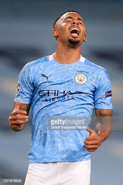 Gabriel Jesus of Man City looks dejected during the UEFA Champions League round of 16 second leg match between Manchester City and Real Madrid at...