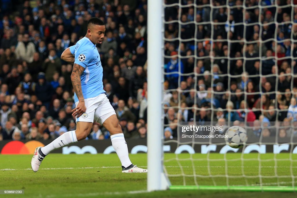 Gabriel Jesus of Man City scores their 1st goal during the UEFA Champions League Round of 16 Second Leg match between Manchester City and FC Basel at the Etihad Stadium on March 7, 2018 in Manchester, England.