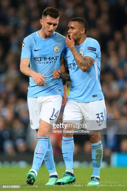 Gabriel Jesus of Man City talks to teammate Aymeric Laporte of Man City during the UEFA Champions League Quarter Final Second Leg match between...