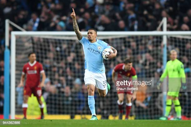 Gabriel Jesus of Manchescter City celebrates after scoring his sides first goal during the UEFA Champions League Quarter Final Second Leg match...
