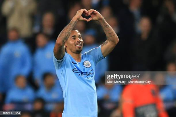 Gabriel Jesus of Manchester City acknowledges the fans after the Group F match of the UEFA Champions League between Manchester City and FC Shakhtar...